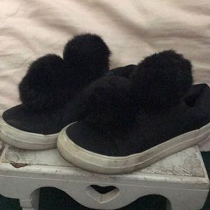 Black Pom Pom slip on sneakers